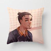 haikyuu Throw Pillows featuring Haikyuu!! Azumane Asahi by sushishishi