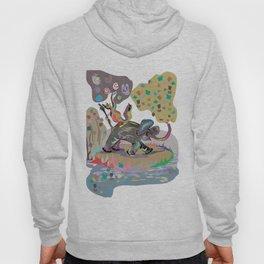 """Elephant Cha Cha"" Paulette Lust's Original, Contemporary, Whimsical, Colorful Art  Hoody"