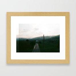 Foggy Sunset on Film Framed Art Print