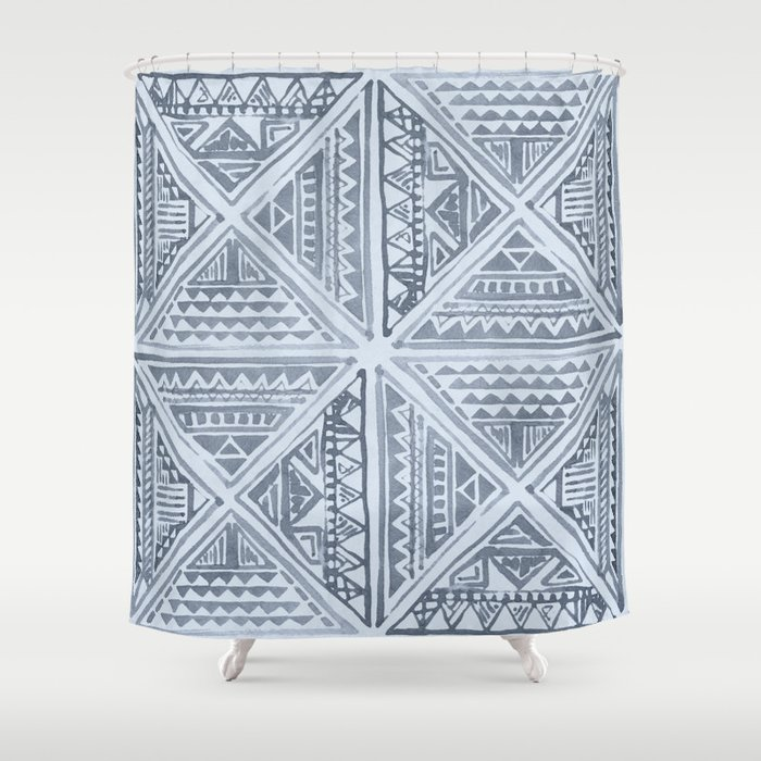 Simply Tribal Tile In Indigo Blue On Sky Shower Curtain