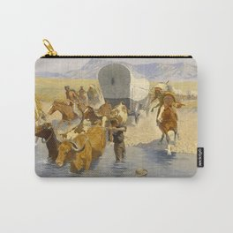 "Frederic Remington Western Art ""The Emigrants"" Carry-All Pouch"