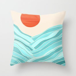 Oahu Summer / Abstract Landscape in Aqua and Orange Throw Pillow
