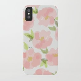 Floral watercolor pattern - pink roses iPhone Case