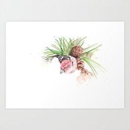 Bird in pine cone tree Art Print