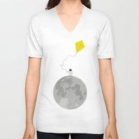 gravity V-neck T-shirts featuring Gravity by coalotte