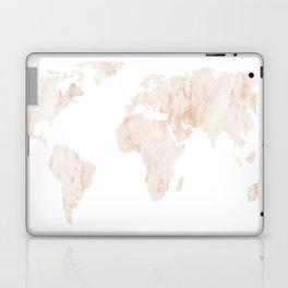 Marble World Map Light Pink Rose Gold Shimmer Laptop & iPad Skin