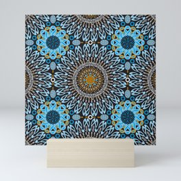 Calligraphic Boho (Blue) Mini Art Print