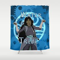 airbender Shower Curtains featuring Water Tribe by Chouly-Shop