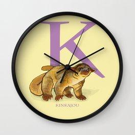 K is for Kinkajou: Under Appreciated Animals™ ABC nursery decor golden yellow unusual animals Wall Clock