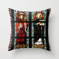 stained glass Throw Pillows featuring Stained glass by Marieken