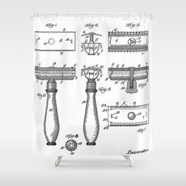 Razor Patent - Barber Art - Black And White Shower Curtain