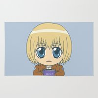 snk Area & Throw Rugs featuring Shingeki no Kyojin - Chibi Armin Flats by Tenki Incorporated