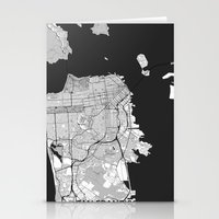san francisco map Stationery Cards featuring San Francisco Map Gray by City Art Posters