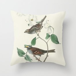 White throated Sparrow from Birds of America (1827) by John James Audubon etched by William Home Liz Throw Pillow