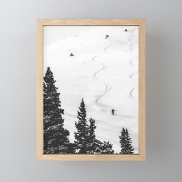 Backcountry Skier // Fresh Powder Snow Mountain Ski Landscape Black and White Photography Vibes Framed Mini Art Print