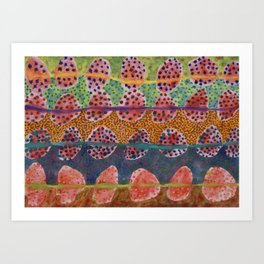Red Round And Dotted Forms  Art Print