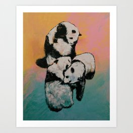Panda Street Fight Art Print