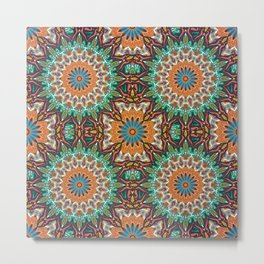 Colorful abstract ethnic floral mandala pattern Metal Print