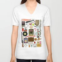 the royal tenenbaums V-neck T-shirts featuring The Royal Tenenbaums by Shanti Draws