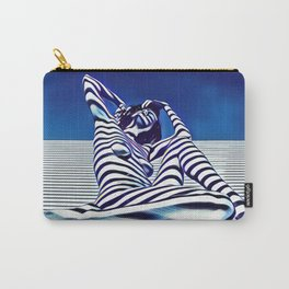 9135-KMA Blue Nude  Woman Striped with Shadow and Light Carry-All Pouch