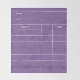 Library Card BSS 28 Negative Purple Throw Blanket