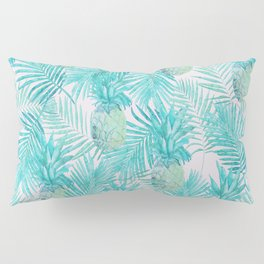 Turquoise Palm Leaves and Pineapples on Pink Pillow Sham