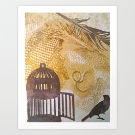 Cages and birds 1 Art Print