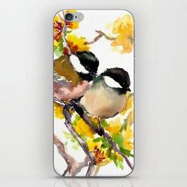 Birds in the Spring, Chickadee birds, birds adn flowers iPhone Skin