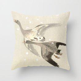 Flying Geese in Snow - Vintage Japanese Woodblock Print Art Throw Pillow