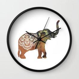 Watercolor Elephant Mandala Wall Clock