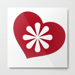 Red Heart and White Paisley Flower Metal Print