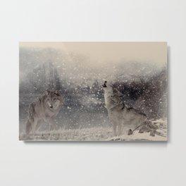 Mountain Wolves Metal Print