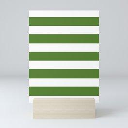 Sap green - solid color - white stripes pattern Mini Art Print