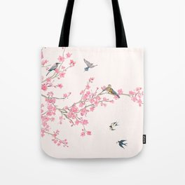 Birds and cherry blossoms Tote Bag