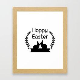 Hoppy Easter Bunny Funny Kids Women Men Framed Art Print