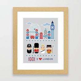 I love London - London Icons - Pixel Art Framed Art Print