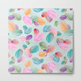 Easter eggs //Watercolor eggs on green wash background Metal Print