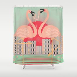 Frenching Flamingos Shower Curtain