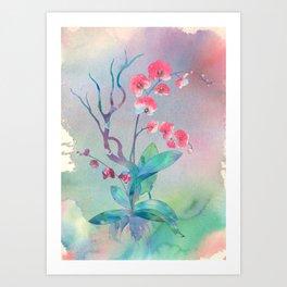 Watercolor orchids painting art illustration Art Print
