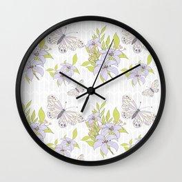 Butterflies and Flowers Pattern Wall Clock