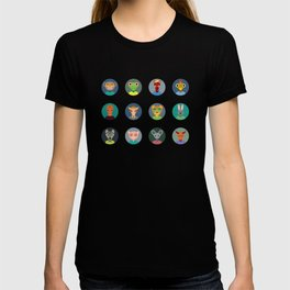 Chinese zodiac collection, Set of animals faces circle icons in Trendy Flat Style T-shirt