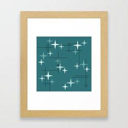 Mid Century Modern Stars (Ocean Green) Framed Art Print