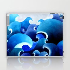 Ocean inspired print of an original painting waves Japanese style water blue sea storm crashing Laptop & iPad Skin