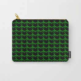 Vintage metal pattern of green hearts on a black background. Carry-All Pouch