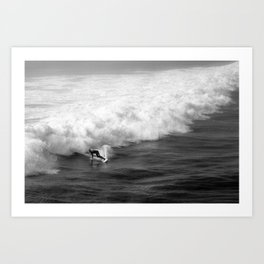 Lone Surfer in Black and White Art Print