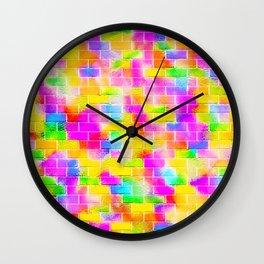 BRICK WALL SMUDGED (Multicolor Light) Wall Clock