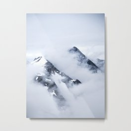 Minimalist MIsty Foggy Mountain Twin Peak Snow Capped Cold Winter Landscape Metal Print