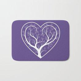 Ultraviolet Love Grows, heart shaped tree Bath Mat