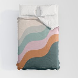 Abstract Diagonal Waves in Teal, Terracotta, and Pink Comforters