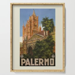 vintage Palermo Sicily Italian travel ad Serving Tray